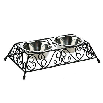 Whisker City® Scroll Double Diner Cat Bowls