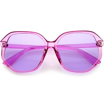 Retro Fab 70s Era Disco Oversize Square Hexagon Sunglasses D016