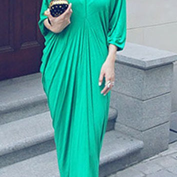 Green Plunging Neckline Ruched Maxi Dress