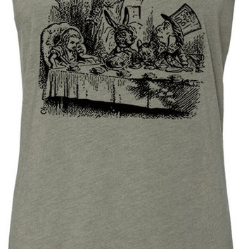 Alice in Wonderland - Mad Hatters Tea Party (Black) Tri-Blend Racerback Tank-Top