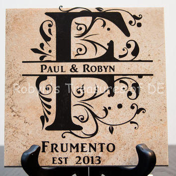 Personalized Sir Name Tile and Stand