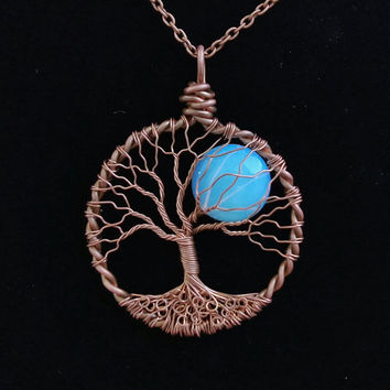 RAINBOW MOONSTONE TREE of Life Pendant Moonstone Opalite Full Moon Gemstone  Lunar Jewelry Cooper Patina Wire Jewelry Reclaimed