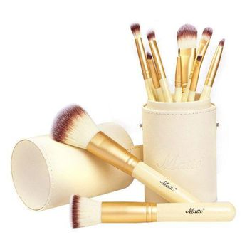 CREYXT3 Matto Makeup Brushes 10-Piece Golden Makeup Brush Set with Foundation Powder Mineral Eye Face Make Up Brushes Holder