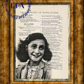 Young German Girl Anne Frank Drawing Art - Vintage Dictionary Page Art Print Upcycled Page Print, World War II era
