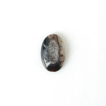 Natural Black Untreated Druzy Geode Stone Cabochon, Oval Quartz Gemstone 20x30mm