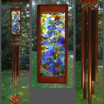 Wind Chime Stained Glass Beach Glass Copper by tskDesign on Etsy
