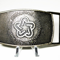 American Revolution Bicentennial Belt Buckle - 1976 Retro Unisex Vintage Star Lee Company Belt Buckle - Square Vintage Buckle