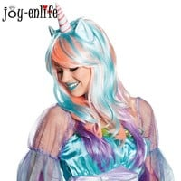 JOY-ENLIFE 1pcs Halloween Party Cosplay Wigs Unicorn Wig Funny Headdress Hair Hats Dress Up Kids Adult Costume Party Supplies