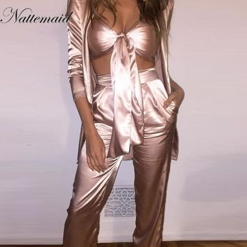 NATTEMAID 2017 Women 2 pieces Sets Ladies tie up Tops+long pants suits Fashion silk matieral high quality Bandage loose clothing