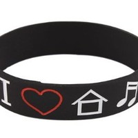 5 Pieces of Black I Love House Music Silicone Wristband Bracelets