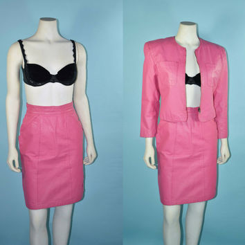 "Vintage 80s Bubblegum Pink Leather Edgy Two Piece Power Suit/ Glam Rock Fitted Mini Pencil Skirt 25"" Waist/ Pockets + Cropped Jacket  Sz S"
