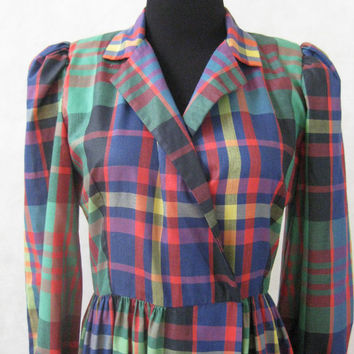 80s Plaid Dress, Vintage J. Ellis Multi Color Poplin Long Sleeves with Puffy Shoulders Snap Lapel and Semi Full Skirt Size Petite S Small