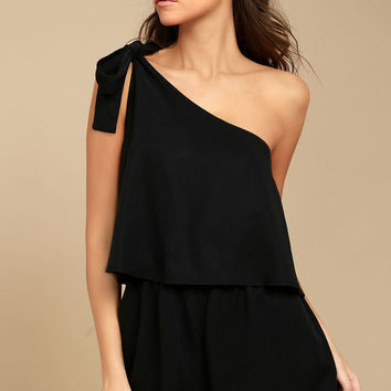 Destined for Chicness Black One-Shoulder Romper