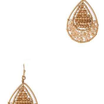 ROUND GLASS BEADS WIRED FLAT EARRING