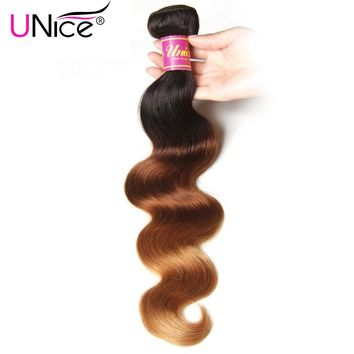 UNice Hair Company Ombre Brazilian Hair Body Wave Bundles T1B/4/27 Remy Human Hair Weave 1 Piece 16-26inch Can Mix Any Length