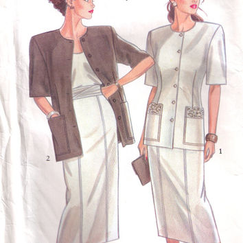 Resort Style Vintage Suit Pattern, New Look 6419, Vintage Pattern, Pencil Skirt and Jacket  8 to 18, Uncut, Mother of the Bride