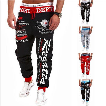 Jogger Pants Outdoors Joggers Men 2016 New Fashion Letter Print Harem Pants Sweat Pants Men Trousers Sports wear [9221273924]