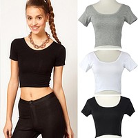 Summer Short Sleeves Sexy Women Basic Tees Tops Cropped T-shirt
