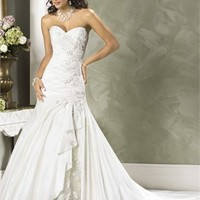 Strapless Sweetheart Neckline Satin Lace Cathedral Train Wedding Dress WD0222