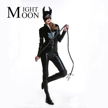 MOONIGHT Adult Costume Cat Women Synthetic Leather Jumpsuit Night Prowler Sexy Catwoman Catsuit Black Cat Halloween Costume
