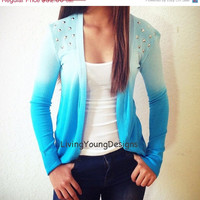 ON SALE Blue Ombre Studded Knit Sweater Dip Dye Cardigan
