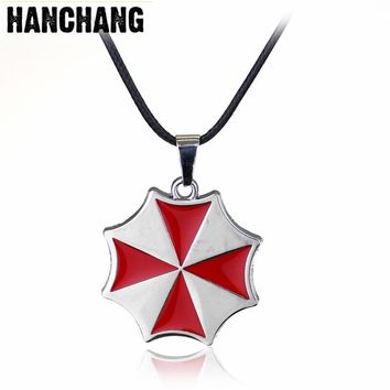 Fashion Jewelry Movie Horror Resident Evil Red Umbrella Necklace Rope Chain Necklace Women Men Sweat Jewelry Gfit