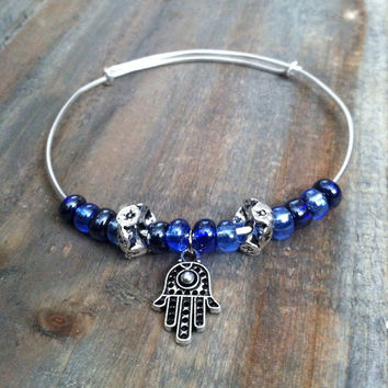 Beaded Bangle Bracelet - Hamsa Hand Charm Bracelet, Blue Bangle Bracelet - Hamsa bracelet, Layering Stacking Bracelet