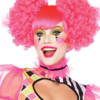 Harlequin neon curly puff wig with adjustable elastic strap