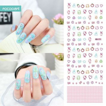 Rocooart KB171 Nail Art Stickers Tips Decoration Nails Wraps Beauty Makeup Harajuku Element Hello Kitty Water Transfer Sticker