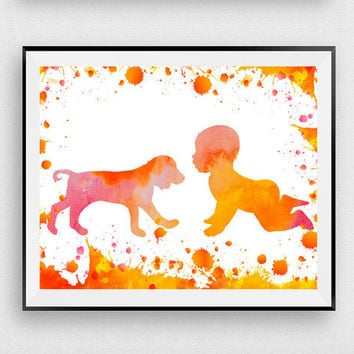Baby print art, Dog print, Baby room, Digital print, Kids room decor, Dog with baby, Poster print, Watercolor art, Dog art, Baby shower