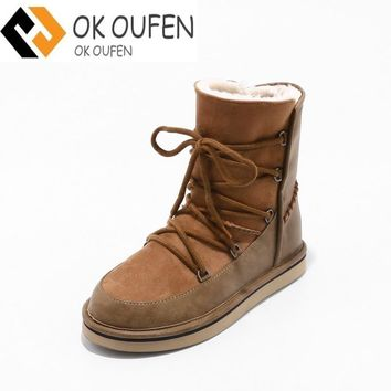 High quality warm in winter fur boots ugs women Australia hot fenty Pure wool women shoes Rain snow emu tenis zapatos mujer