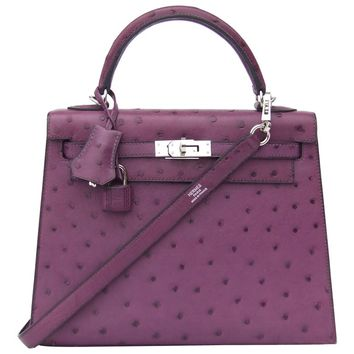 HERMES Kelly 25 Sellier Bag Ostrich Violine Palladium Hdw Aurtuche Purple 25 cm