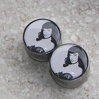 "Bettie Page Plugs - One PAIR - Sizes 2g, 0g, 00g, 7/16"", 1/2"", 9/16"", 5/8"", 3/4"", 7/8"", 1"" - Made To Order"