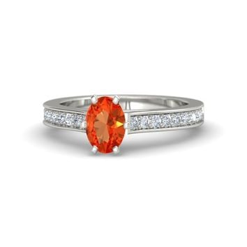 Oval Fire Opal 14K White Gold Ring with Diamond