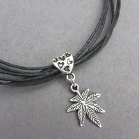 Pot Leaf Necklace, Heart Embossed Bail, Marijuana Charm,  Black Cord Weed Necklace, Birthstone Option, 7 Leaf Cannabis Charm Hippie Necklace