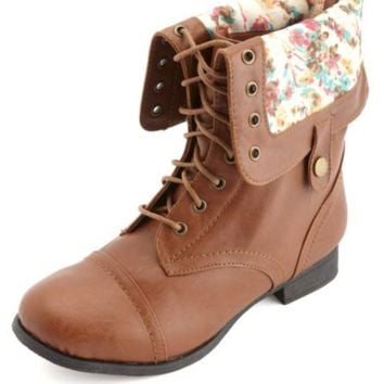 WIDE WIDTH FLORAL-LINED FOLD-OVER COMBAT BOOTS