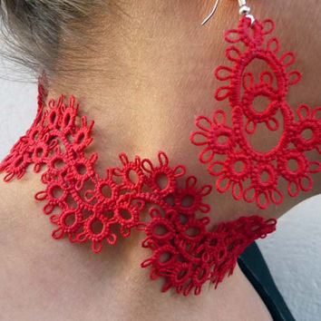 Red tatting earrings and necklace - for women  - party cocktail - for Her - wedding