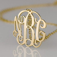 Girlfriend's present monogram necklace 1.25 inch golden monogram necklace initial name pendant customized