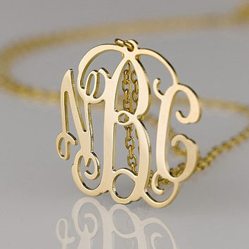 Monogram ABC style necklace 1 inch monogram customized necklace jewelry plated in gold