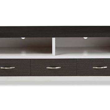 Baxton Studio Oxley 59-Inch Modern and Contemporary Two-tone White and Dark Brown Entertainment TV Cabinet with Three Drawers Set of 1