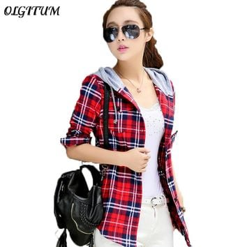 Hot New Arrival 2018 Women Hoodie Casual Fit Blouse Plus Size Sweatshirt Autumn Cotton Long Sleeve Red Checked Plaid Shirt