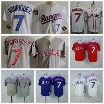 Hall of Fame 75th Anniversary Ivan Rodriguez Baseball Jersey Throwback 7 Pudge Rodriguez Jersey Mens Texas Rangers Cooperstown Vintage
