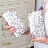 Long clutch wallet fashion silver patent leather stone pattern Leather purse money