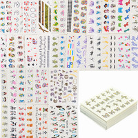 50 Sheets Mixed Styles Watermark BOW Cartoon Stickers Nail Art Water Transfer Tips Decals Beauty Temporary Tattoos Tools