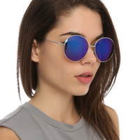 Silver Blue Round Aviator Sunglasses