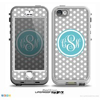 The Gray-White Polka Dot with Teal Custom Monogram Skin for the iPhone 5-5s NUUD LifeProof Case