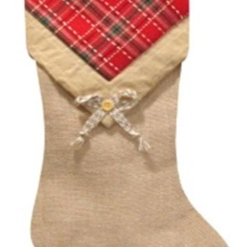 """20.5"""" Burlap and Plaid V-Cuff with Button Decorative Christmas Stocking"""