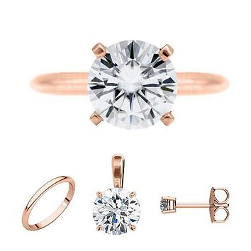 FAB Round Moissanite 4 Prong Ring Complete 14K Rose Gold Solitaire Wedding Set