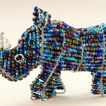 African Fair Trade Mini Beaded Rhino - Wireworx wire and glass beaded animal