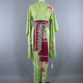 1960s Vintage Silk Kimono Robe Furisode / 60s Silk Dressing Gown Wedding Lingerie / Embroidered Butterflies / Green Floral Embroidery